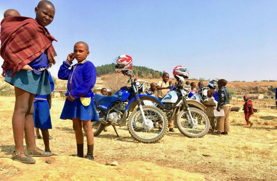 Riders for Health bikes in Lesotho.