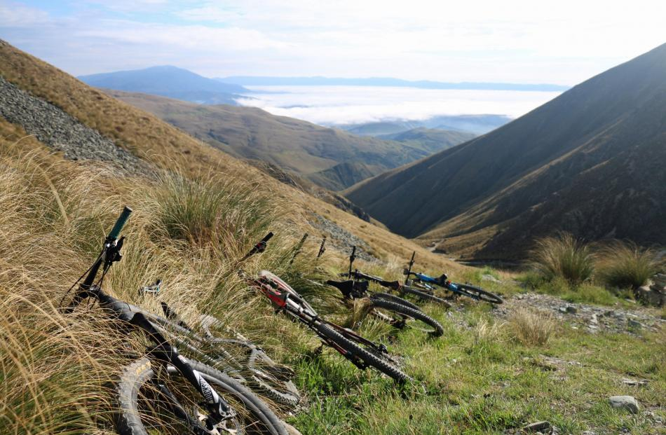The equipment line-up before the Mountain Biking North Otago Club's ride to the summit of Mt...