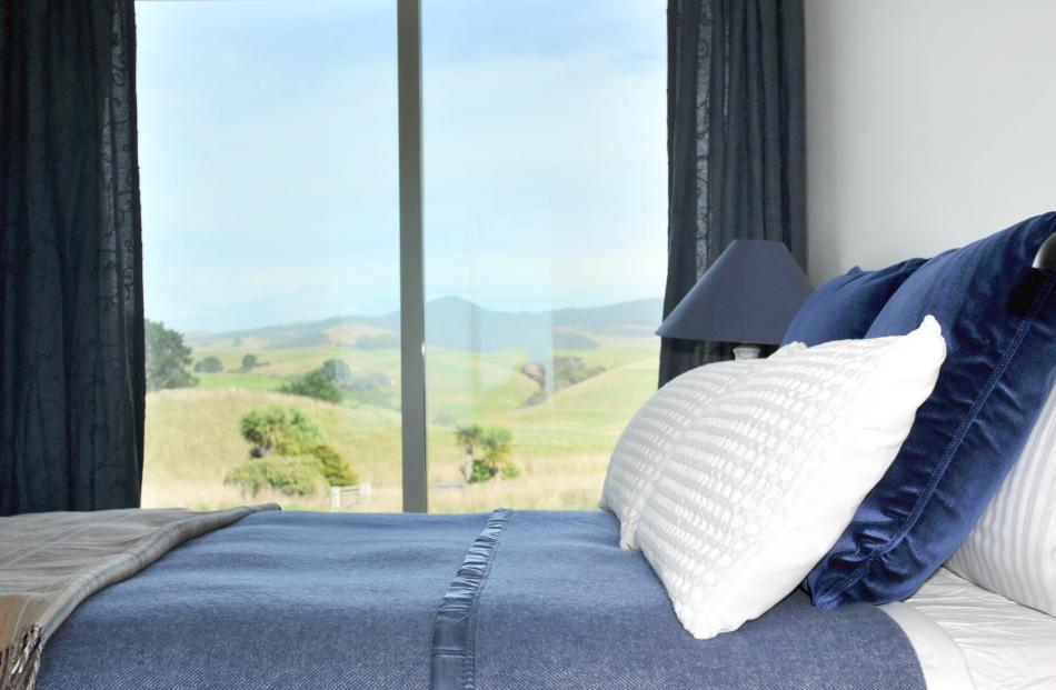 The main bedroom has rural views on one side and ocean views on the other.