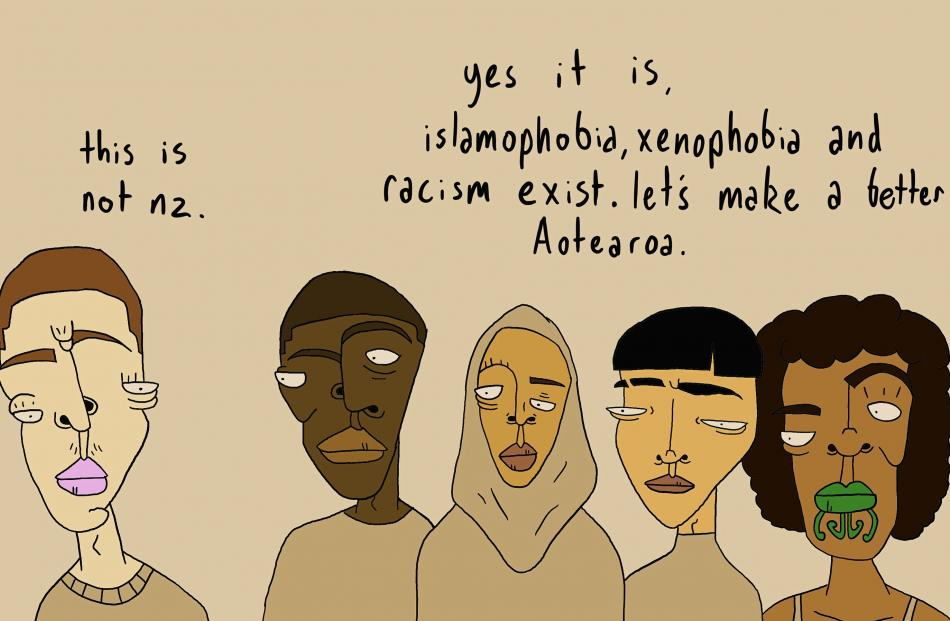 This illustration by former Oamaru artist Mark Whittet (20) has been shared widely online following the terrorist attacks on two mosques in Christchurch. PHOTO: MARK WHITTET