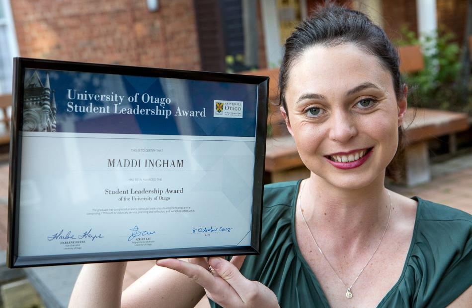 Accounting and law graduand Maddi Ingham, pictured last year. PHOTO: SUPPLIED