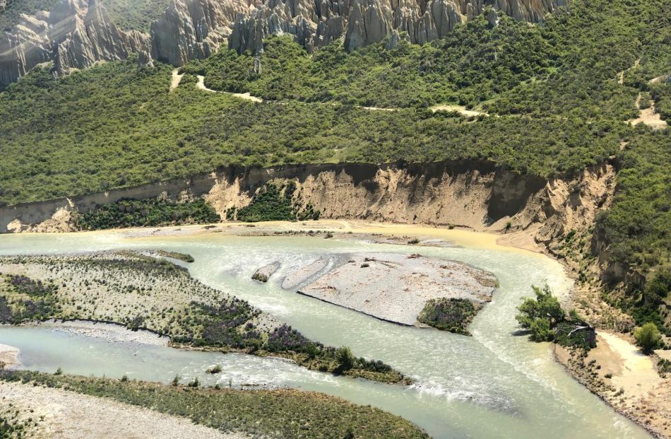 Erosion at the Clay Cliffs at Lake Benmore, near Omarama. The Upper Waitaki Zone Water Management...