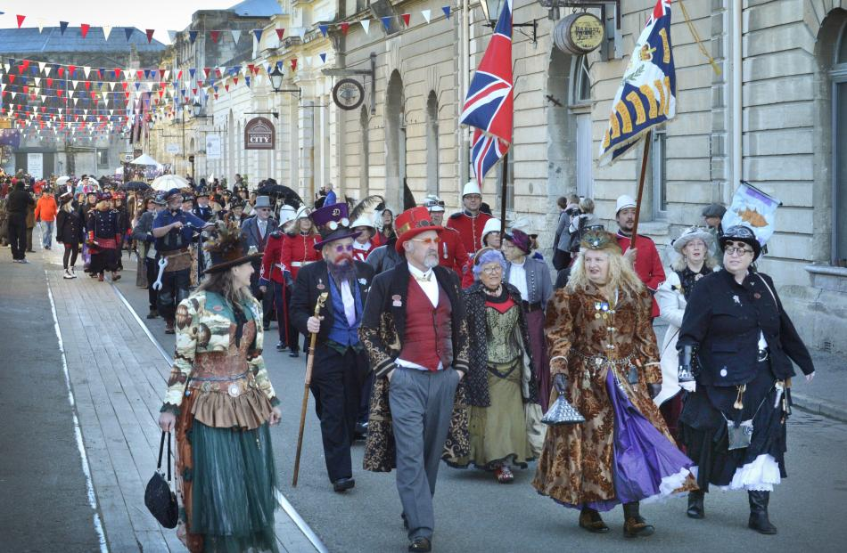 Steampunk enthusiasts parade down Harbour St on Saturday as part of the Steampunk NZ Festival...