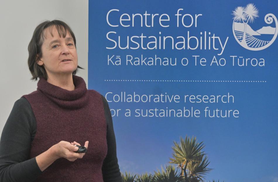 Janet Stephenson speaks at the University of Otago. PHOTO: LINDA ROBERTSON
