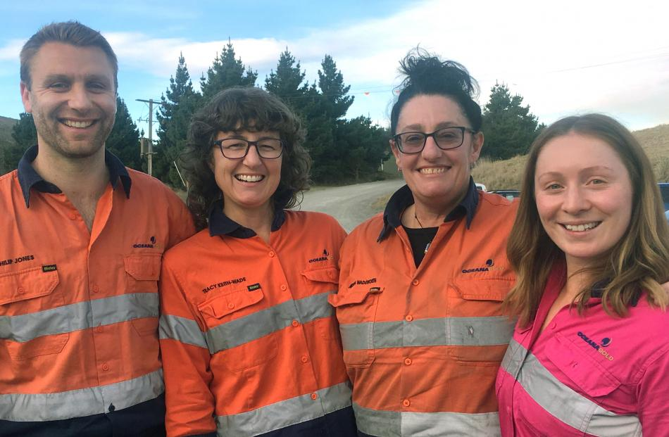 Macraes mine staff (from left) Philip Jones, Tracy Keith-Wade, Andrea Wadsworth and Steph Sharp....