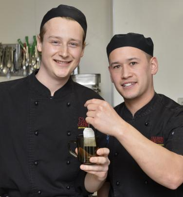 University of Otago cook-off  competition winners Rani Cohen (left) and Dylan Henry, from Aquinas...