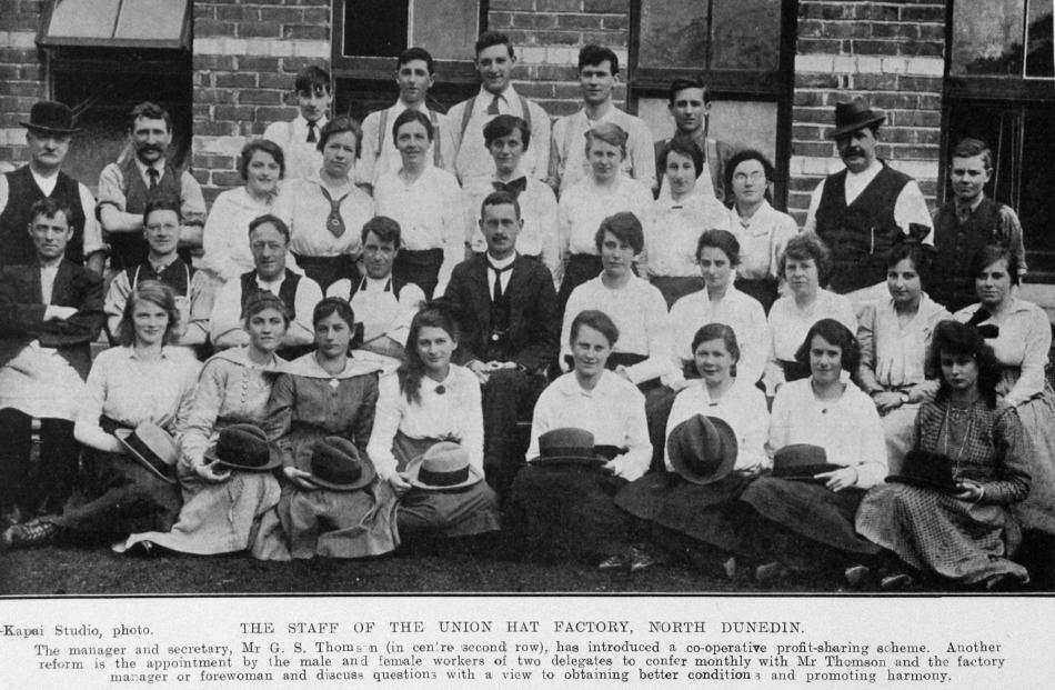 The staff of the Union Hat Factory, North Dunedin. The manager and secretary, Mr G. S. Thomson ...