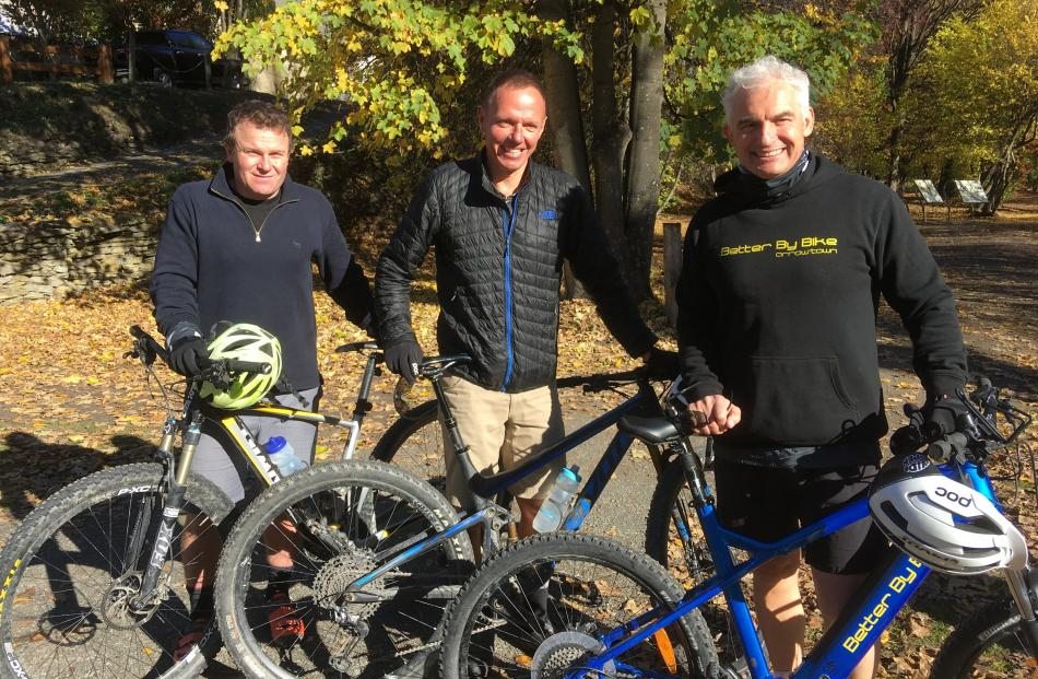About to ride a section of the Queenstown Trail from Arrowtown to Gibbston yesterday are (from...