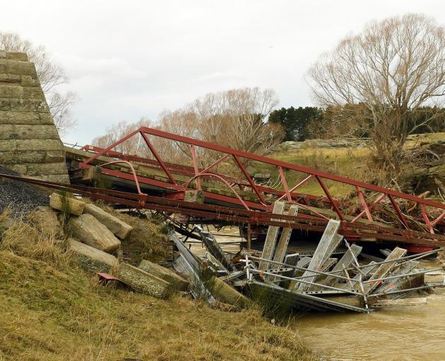 The Sutton bridge was destroyed in a flood in July last year. Photo: ODT