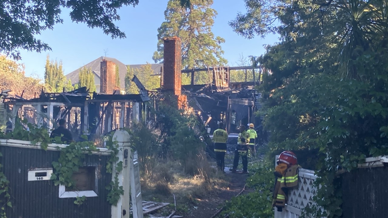 The house after the fire this morning. Photo: Geoff Sloan