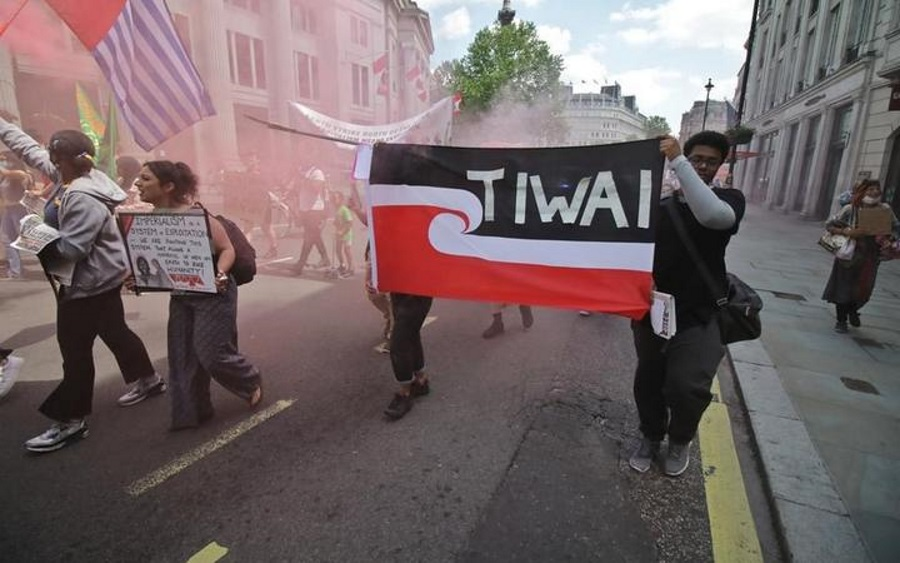 Ariana Sutton arranged for protesters against Rio Tinto in London this month to carry a flag...