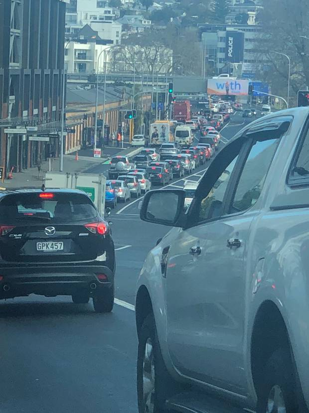 Traffic was heavy 20 minutes before midday as motorists battled to get home in time for lockdown....