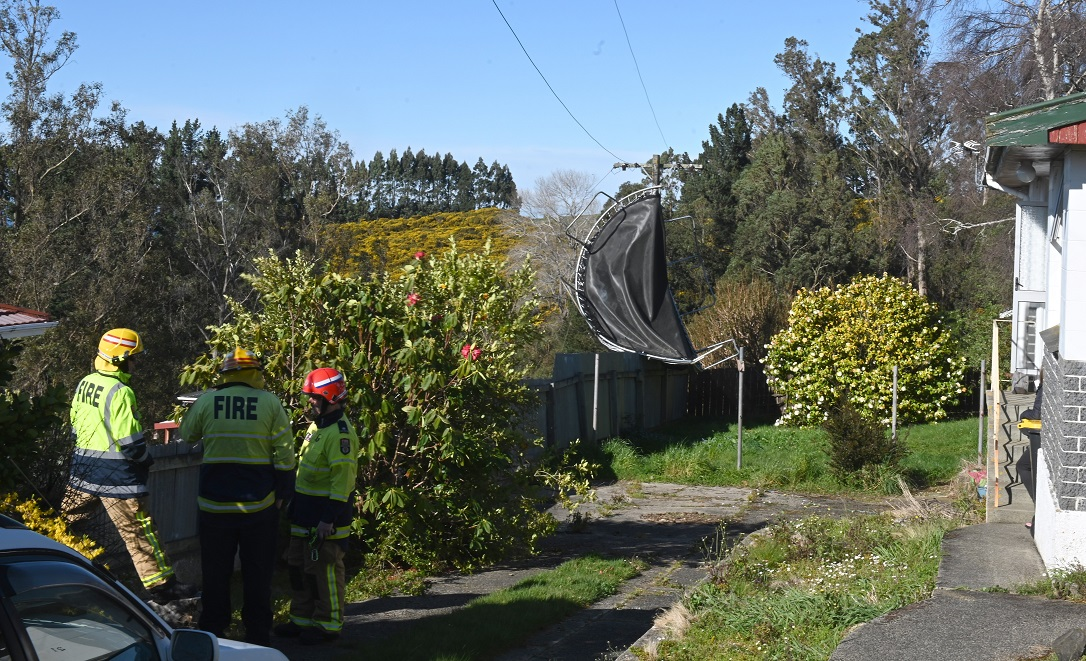 A trampoline ended up wrapped around a power pole in Statham St in the Dunedin suburb of...
