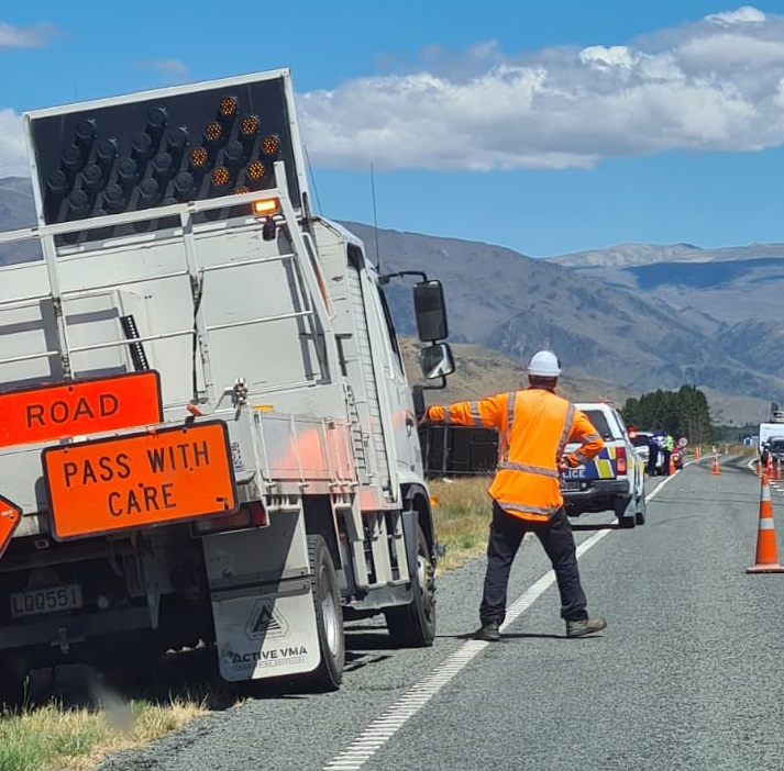 Traffic control in place following the crash. Photo: Supplied