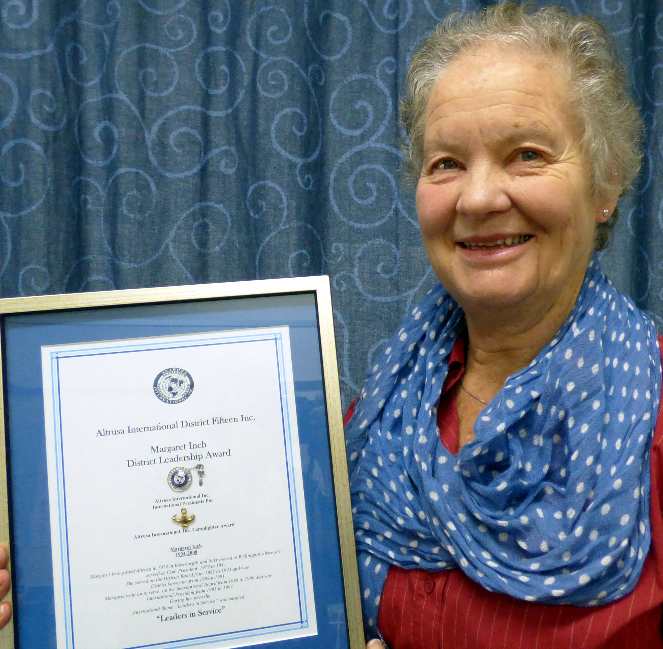 Long-standing Altrusa Club of Taieri member Clare Banks holds the Margaret Inch Leadership Award,...