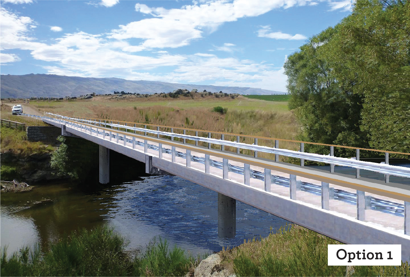 SAME SITE: The first option is for the new bridge to be built where the former bridge was, with...