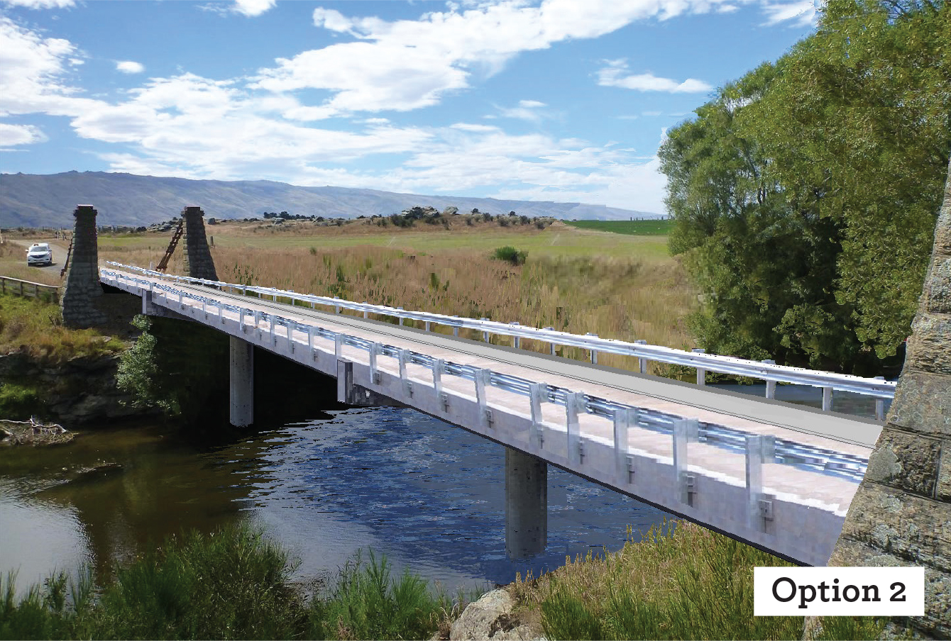 PILLARS REMAIN: The second option will reinstate the destroyed bridge's historic pillars on...