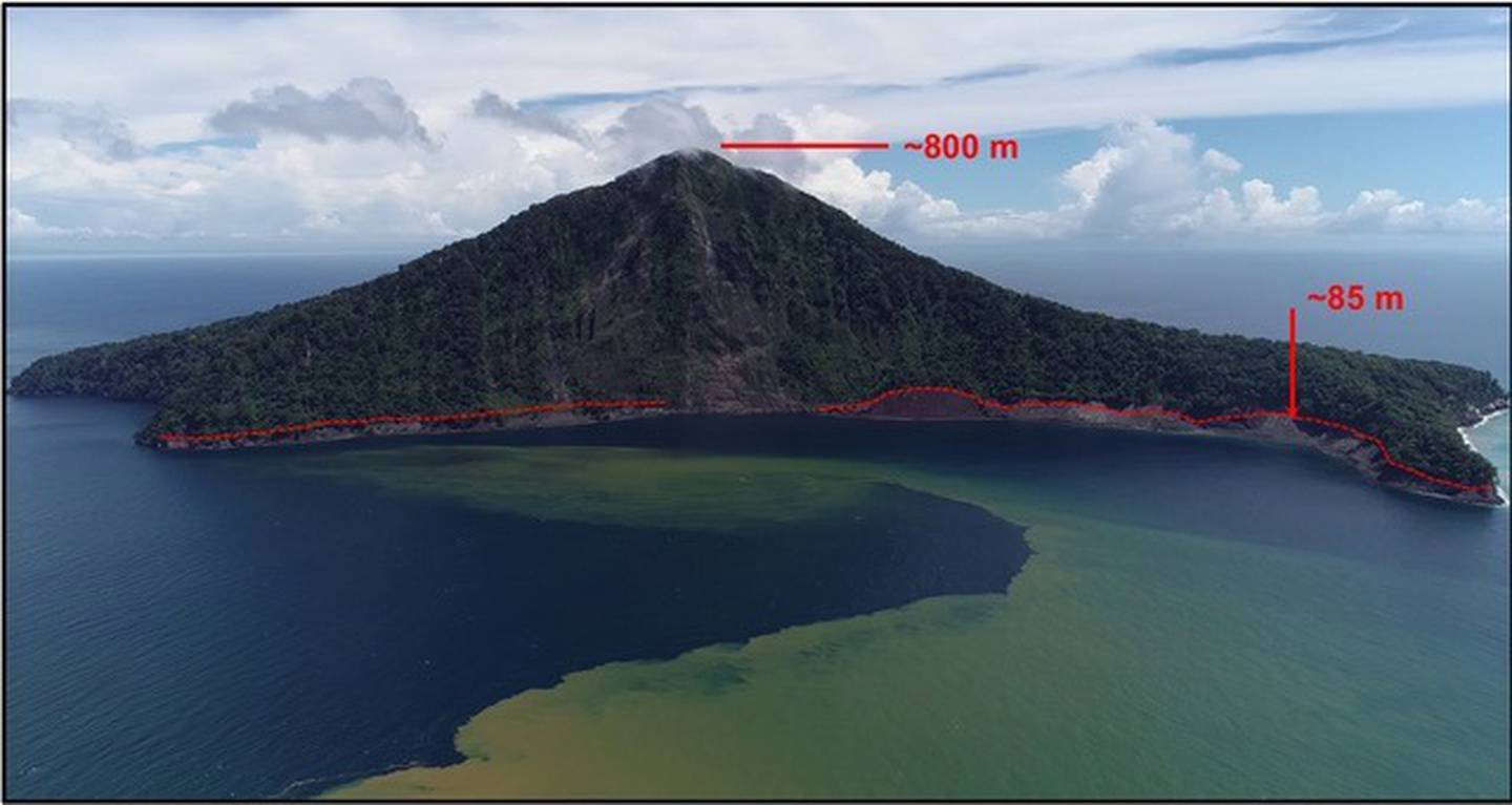 This image of Indonesia's Rakata Island shows the 85m-height of the tsunami when it hit in...