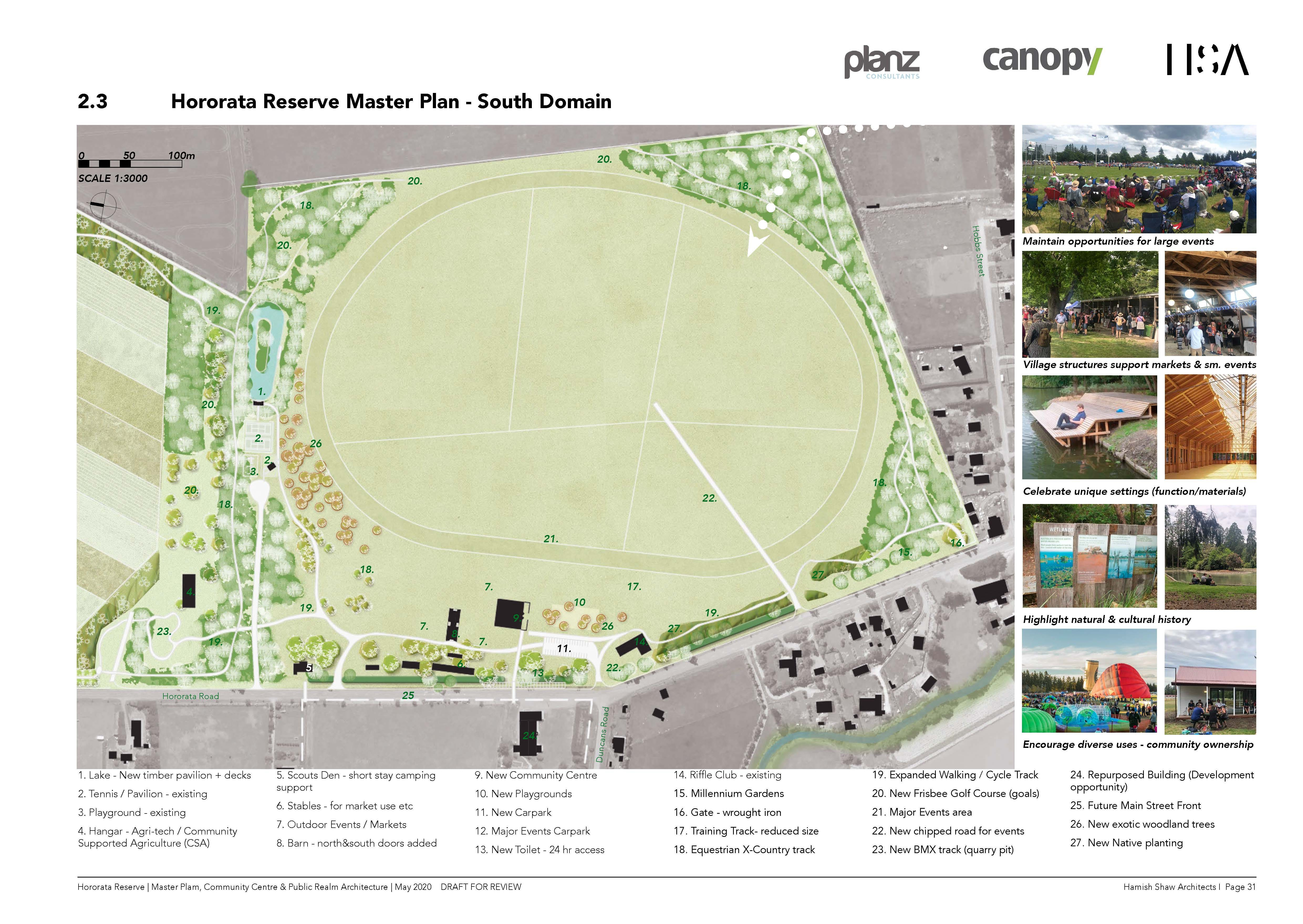 Hororata Reserve Master Plan - South domain. Image: Selwyn District Council