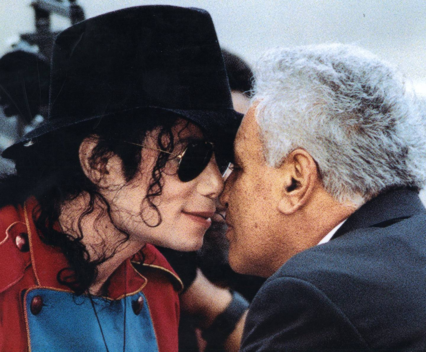 Sir Howard Morrison greets Michael Jackson with a traditional hongi. Photo: NZH File