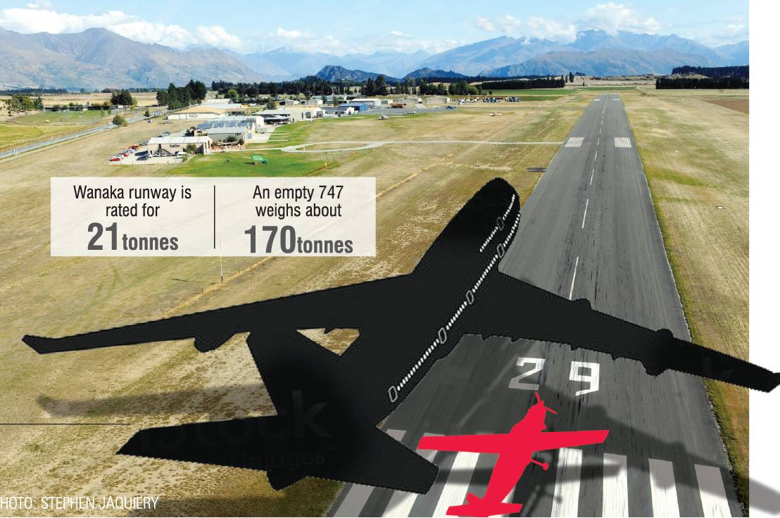 A comparison between a Boeing 747 and a light aircraft landing at Wanaka Airport. ODT GRAPHIC