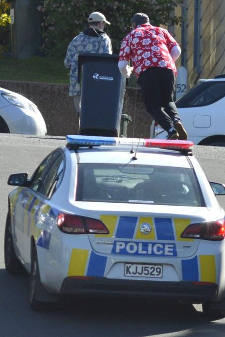 The riders scarper after police arrive on the scene.PHOTOS: GERARD O'BRIEN
