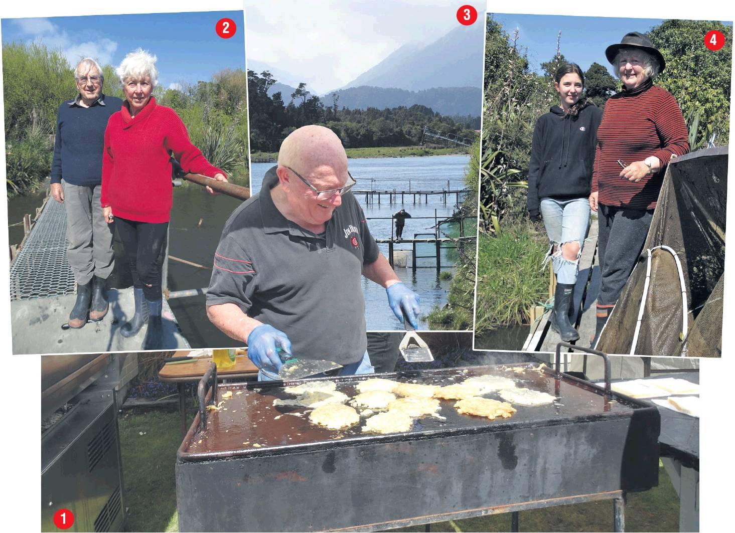 1: John Nailer cooks up whitebait caught in the Okuru River at the Haast Whitebait Festival. 2:...