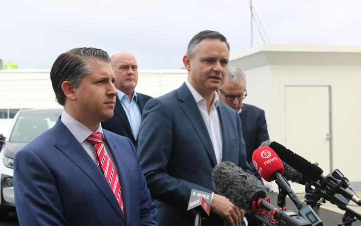 Transport Minister Michael Wood (left) and Climate Change Minister James Shaw announced the...