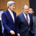 US Secretary of State John Kerry (L) and Russian Foreign Minister Sergei Lavrov arrives for a...