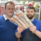 Blue Water Products general manager Sam Hutchison (left) and Agora Butchery and Deli manager Ron...
