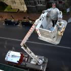 Nigel Hope, of Christchurch, demonstrates  his former Dunedin Fire Service Mack Snorkel in Stuart...